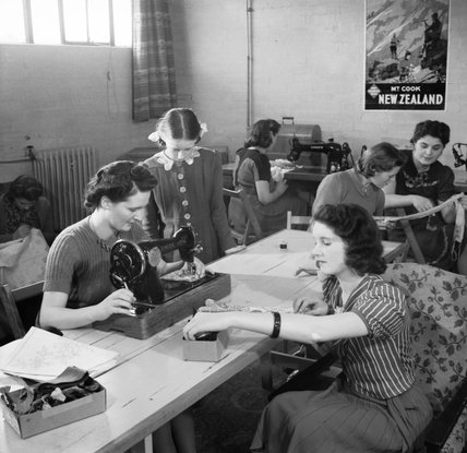 The sewing room in the war workers hostel at Royal Ordnance Factory, Bridgend, during January 1942.