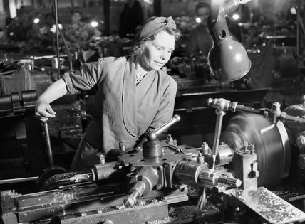 Mrs D Cheatle from Sheffield operating a capstan lathe at