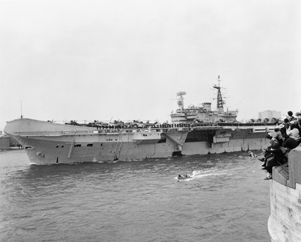 HMS HERMES leaves Portsmouth for the South Atlantic, 5 April 1982.