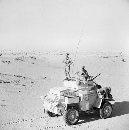 A Humber Mk II armoured car of the 12th Royal Lancers on patrol south of El Alamein, July 1942.