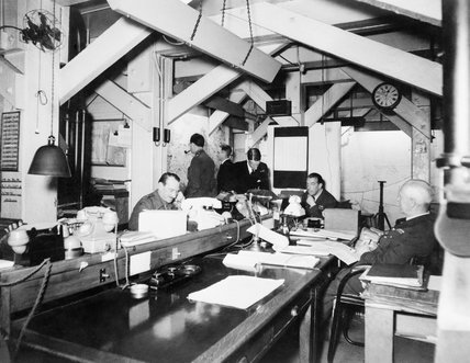 Map Room Officers at work in the Cabinet War Rooms.