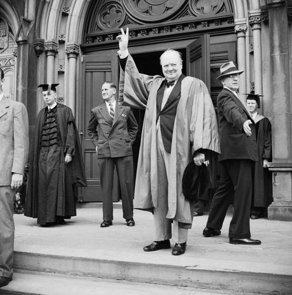 Winston Churchill receives an honorary degree from Harvard University in Massachusetts, USA, 6 October 1943.