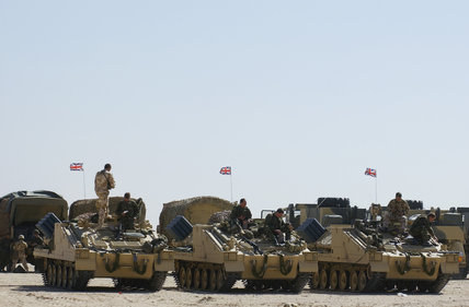British Army Stormer armoured vehicles fitted with the Shielder minelaying system, in Kuwait during preparations for Operation 'TELIC', the invasion of Iraq, 2003.