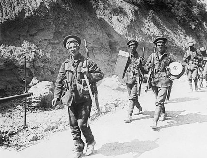Royal Fusiliers returning from the trenches through Gully Ravine, Cape Helles, Gallipoli, 1915.