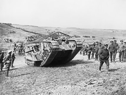 The Mark I 'Male' tank 'C19' 'Clan Leslie' in Chimpanzee Valley preparing for the advance on Flers during the Battle of the Somme, 15 September 1916.