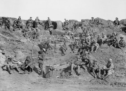 British and French troops at rest in reserve lines at Le Verquier, 25 April 1917.