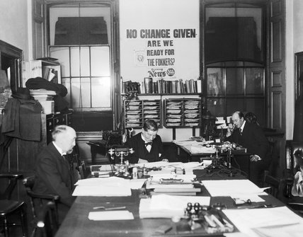 The Naval Censor's office at the Admiralty during the First World War with the Chief Censor, Admiral Sir Douglas Brownrigg, seated in the centre.