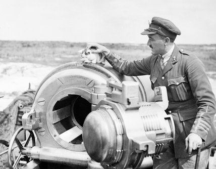 Officer of 444 Battery, Royal Garrison Artillery, with his pet kitten on the breech of a 12-inch howitzer near Arras, 19 July 1918.