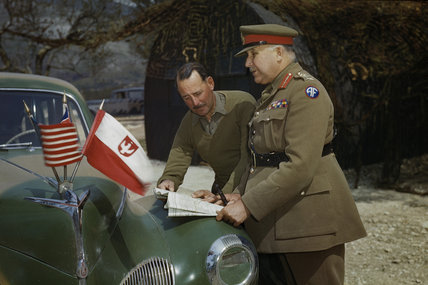General Sir Henry Maitland Wilson, Supreme Allied Commander Mediterranean Theatre (right), in discussion with the Eighth Army Commander, Lieutenant General Sir Oliver Leese, near Mignano in Italy, 30 April 1944.