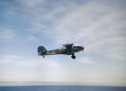 A Fairey Albacore Mk I of No. 820 Naval Air Squadron operating from HMS FORMIDABLE during the North African landings, November 1942.