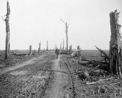 Scene of destruction on the Amiens-St. Quentin Road.