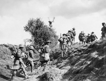 Troops moving up to the front line near Inchy during the Canadian Corps crossing of the Canal du Nord, 27 September 1918.