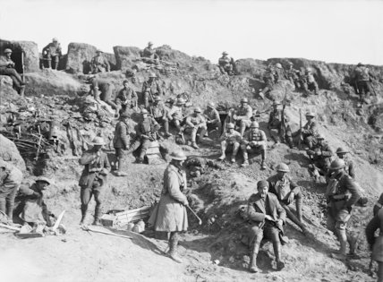 British and French troops in reserve lines at Le Verguier, 25th April 1917.