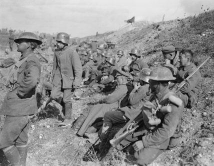German prisoners taken near Moeuvres during the crossing of the Canal du Nord, 27 September 1918