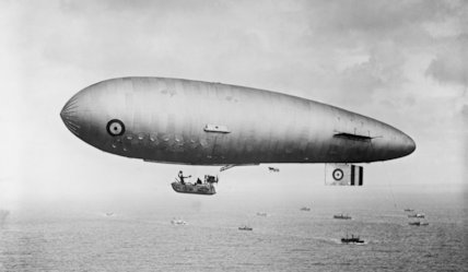 A Zero Non Rigid Airship escorts a convoy