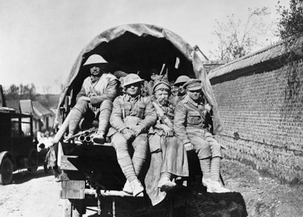 British troops returning by motor lorry from the trenches, Battle of the Lys, 1918