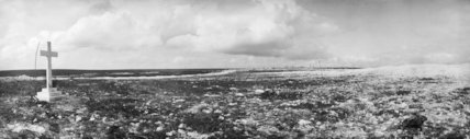 View of the battlefield at La Boisselle in September 1916 showing the Cross erected to several members of the 34th Division, who were killed in action on 1st July, Somme, 1916.