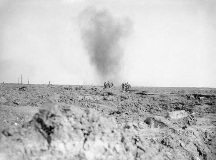 Carrying wounded across the battlefield under shell fire, Battle of Ginchy, Somme, 1916.