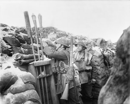 Artillery signal-rocket rack in a trench in the Arleux Sector held by the 12th East Yorkshires. 9 January 1918.