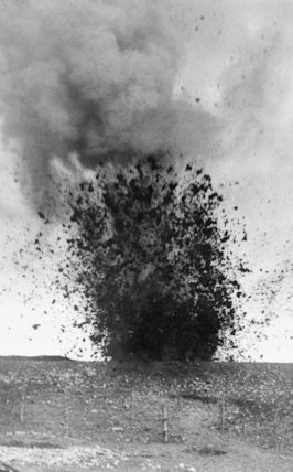 A heavy shell bursting during the Battle of the Somme.