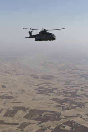 Helicopter flying over Helmand, Afghanistan, 2012.