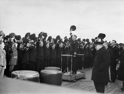 Three cheers for Mr Churchill on board HMS RODNEY.