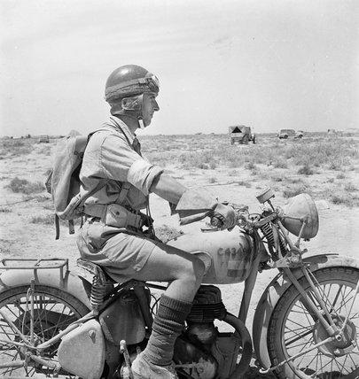 Western Desert An Army Despatch Rider On His Machine In