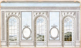 Alternative design for window wall with wide piers, Queen Charlotte's Drawing Room: elevation
