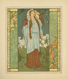 The Fairy Lady of Shalott in the space of flowers' from Alfred Lord Tennyson's, 'The Lady of Shalott',  New York: Brett Lithographing Co.;Dodd, Mead and Company 1881