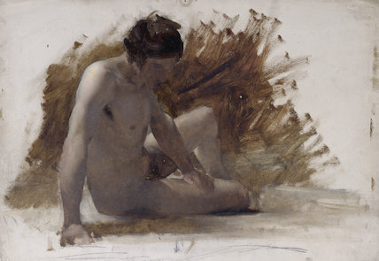 Seated male nude