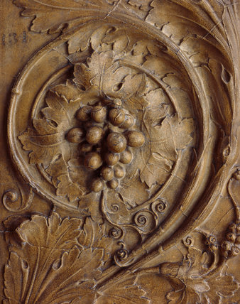 Architectural cast: relief panel decorated with scrolling foliage [detail]