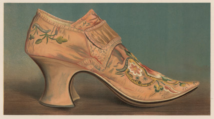 Large buckled shoe worn in the reign of Queen Anne; from T. Watson Greig, 'Ladies' old-fashioned shoes', 1885