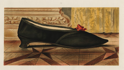 Shoe fastened by a ribbon tie; from T. Watson Greig, from 'Ladies' Old-fashioned shoes', 1885