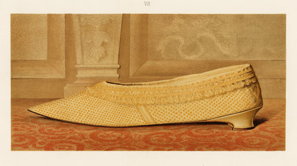Lady Mary Mordaunt's yellow silk shoe; from T. Watson Greig, from 'Ladies' Old-fashioned shoes', 1885