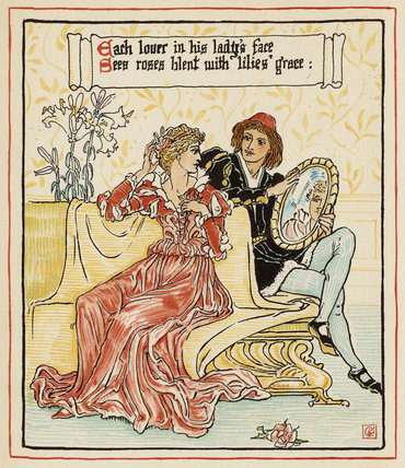 Each lover in his lady's face ...', from Walter Crane's 'Queen Summer, or the Tourney of the Lily & the Rose', London [&c.]: Cassell & Co., 1891