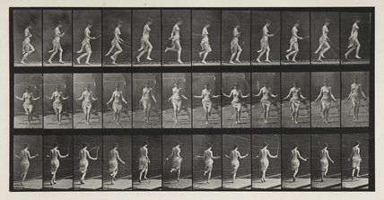 Unmarried female (semi-nude) running and jumping with skipping rope, from 'Animal Locomotion. An electro-photographic investigation of the consecutive phases of animal movements' 1872-1885