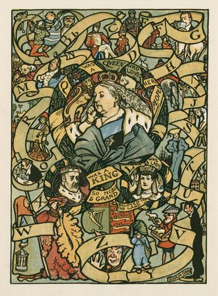Q was a Queen who loved her people ...'; from 'Old King Cole's Book of Nursery Rhymes', London: Macmillan & Co., [1901]