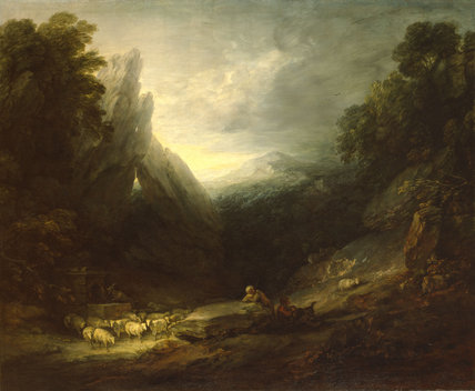Romantic Landscape with Sheep at a Spring