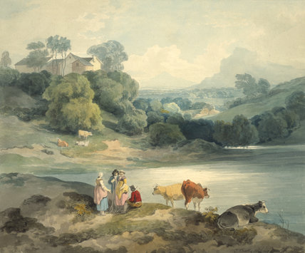 Figures and cattle by a lake