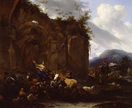A Farrier and Peasants near Roman Ruins