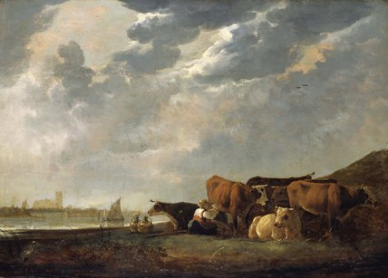 Cattle near the Maas, with Dordrecht in the distance