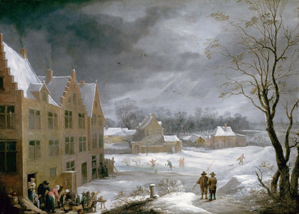Winter Scene with a Man Killing a Pig