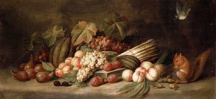 Still Life with Fruit and a Squirrel