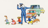 Policeman Badger helps Tufty and the Furry Folk Cross the Road
