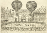 The 'ascent of Mr Green's balloons from Vauxhall Gardens July 1836'.