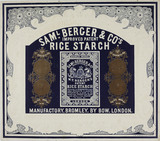 Colour advertisement for Samuel Berger & Company's Rice Starch: c. 1851-1862