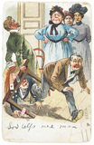 Comic picture postcard satirising English suffragettes: 1909