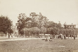 Children, horses and carts on Winchmore Hill Green; c.1870
