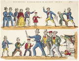 Toy theatre sheet representing key characters from Oliver Twist: c.1870