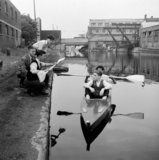 Students making and testing boats in the Regents Canal at Shoreditch.